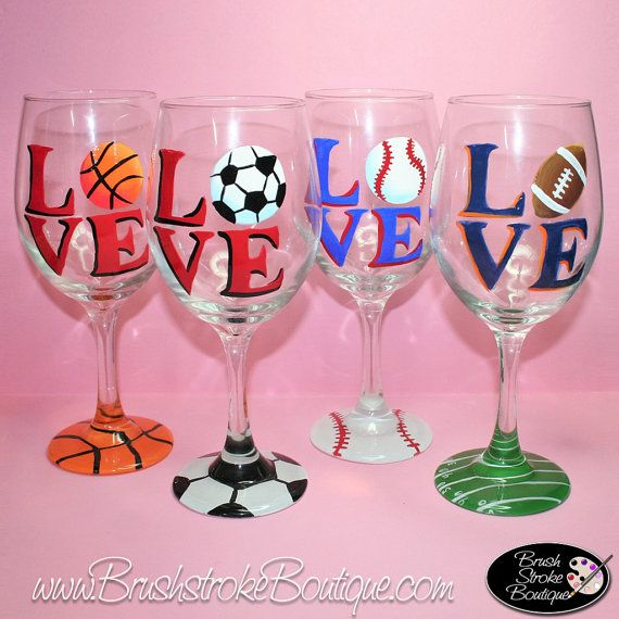 Hand Painted Wine Glass - Love Sports Set - Personalized and Custom Wine Glasses for Birthday, Wedding, Party, Special Occasions