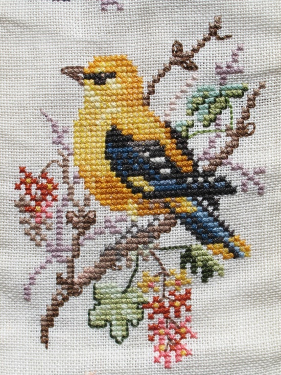 cross-stitch embroidery yellow bird