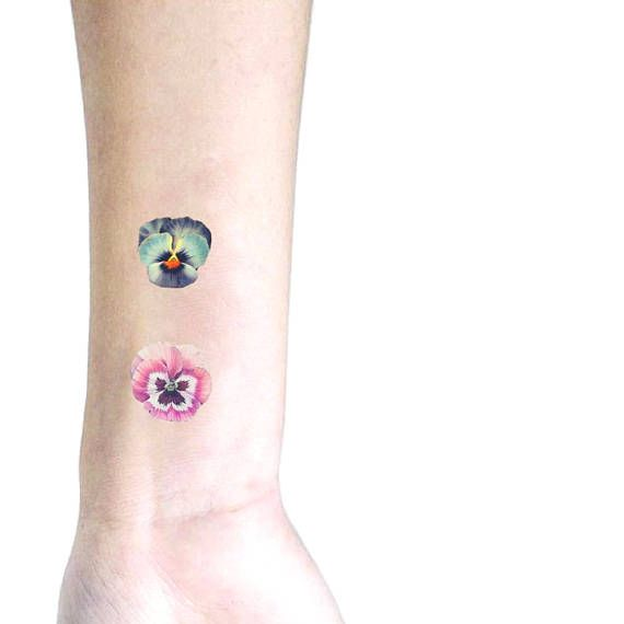 Pink and Blue Pansies set of 2 temporary tattoo / floral