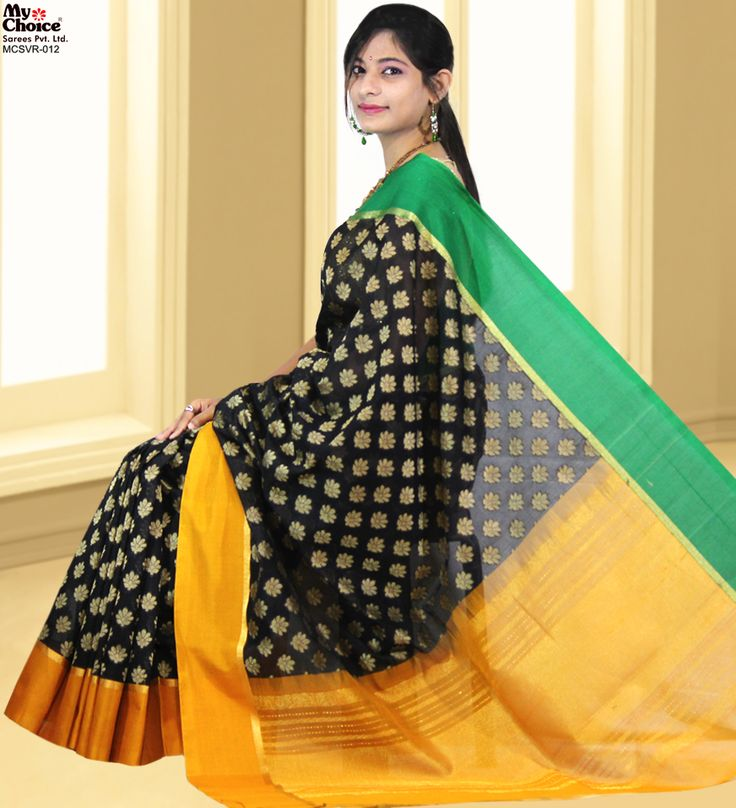Vidrol Black Saree with Gold & Green Border