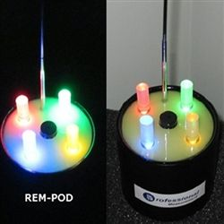 This new REM Pod uses a mini telescopic antenna to radiate its own independent magnetic field around the instrument. This EM field can be easily influenced by materials and objects that conduct electricity.  Based on source proximity, strength and EM field distortion (4) colorful LED lights can be activated in any order or combination. This new feature is intended to further help promote and advance Paranormal research.