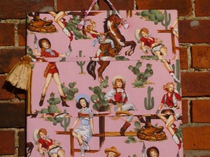 Handmade Retro Cowgirl Notice Board - Pink