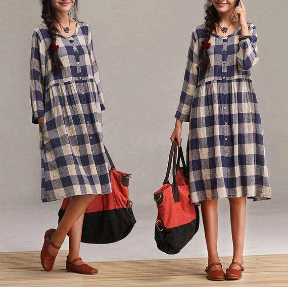 Cotton plaid high waist cardigan dress / blue plaid drawstring nine points sleeve dress