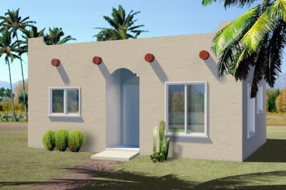 Adobe tiny house 437 sq ft small spaces 14 for Adobe modular homes