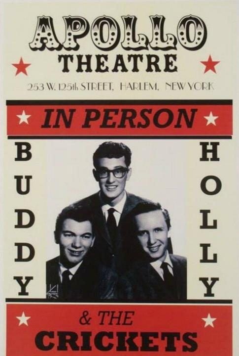 Buddy Holly and the Crickets play Harlem's Apollo Theatre, August 1957.