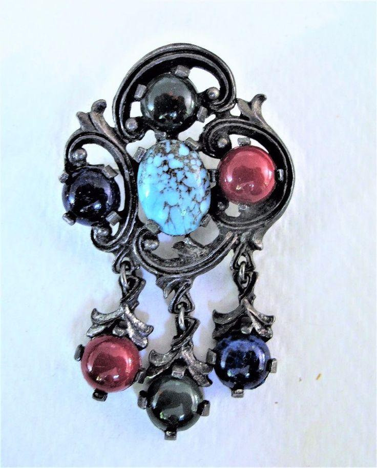 SPLENDID VINTAGE SCOTTISH GLASS AGATE DANGLE 'MIRACLE' BROOCH  | eBay