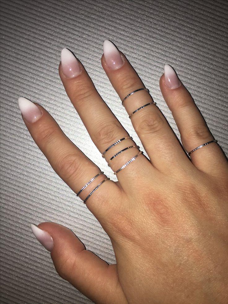 Long stilleto nails  Ombre pink white DIY at home Gel nails