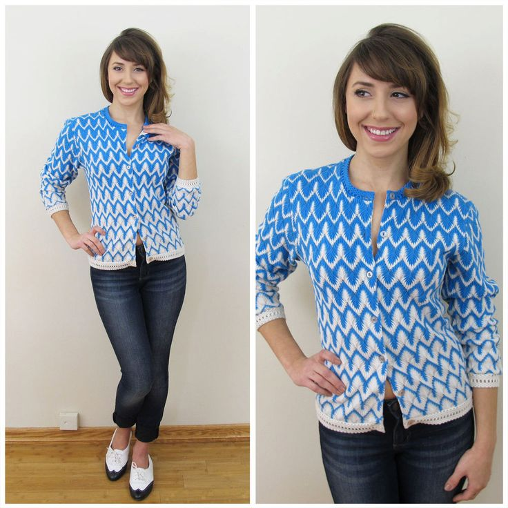 60s 70s Mr. K Cerulean Blue and White Cardigan Sweater, Size XS to Small by retrorocketgirl on Etsy