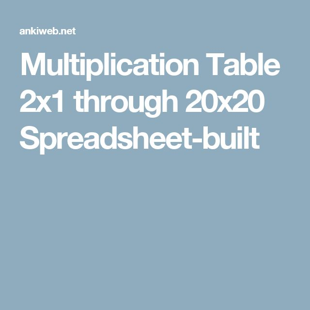 Multiplication Table 2x1 through 20x20 Spreadsheet-built
