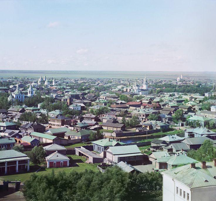 С. М. Прокудин-Горский. г. Тобольск с сев.-вост. Вдали видно слияние реки Тобола с Иртышем. 1912 год