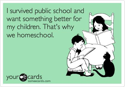Funny Family Ecard: I survived public school and want something better for my children. That's why we homeschool.