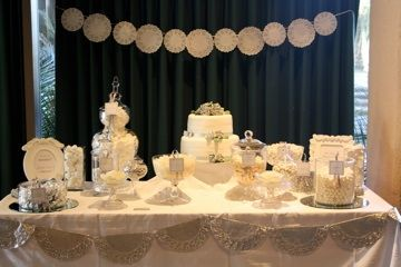 Wedding by Mei & May. White candy buffet