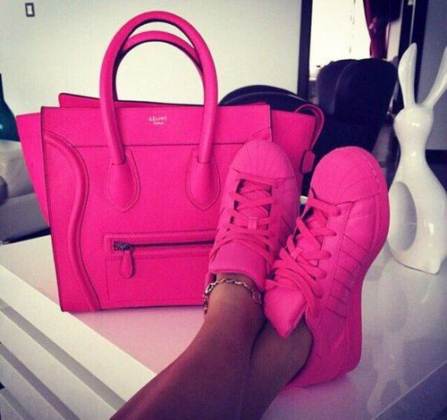 celine hot pink tote bag with hot pink adidas super star