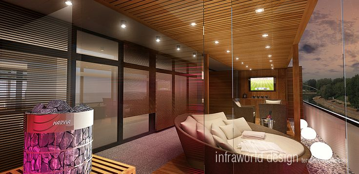 Luxurious residence terrace with sauna
