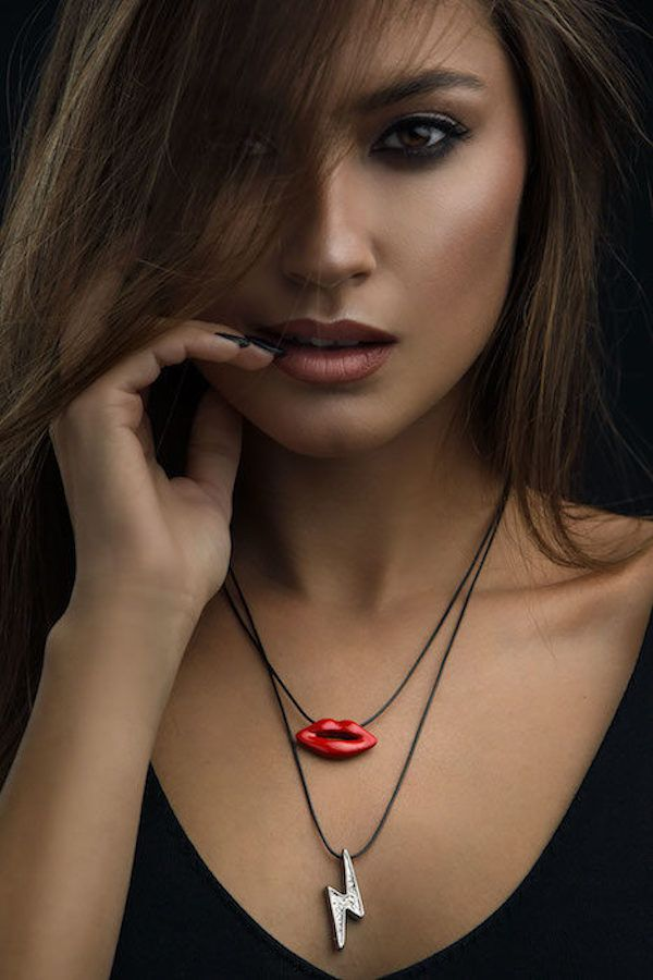 Red Lips & Silver Thunder pendant necklace   #necklace #pendant #chain #cord #black #gold #silver #ring #bracelet #fashion #ootd #brass #menstyle #womensfashion #handmade #jewellery #jewelrydesign #jewels