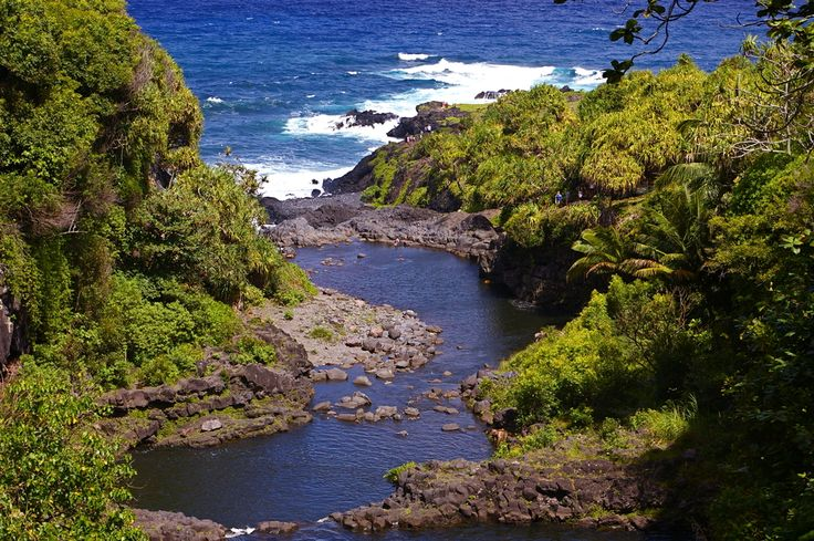 HAWAII ~ MAUI : These are the Ohe'o Gulch Pools, more commonly referred to as the Seven Sacred Pools. This is a natural spectacle, with a string of pools and waterfalls cascading from East Maui Mountain to the blue Pacific Ocean.