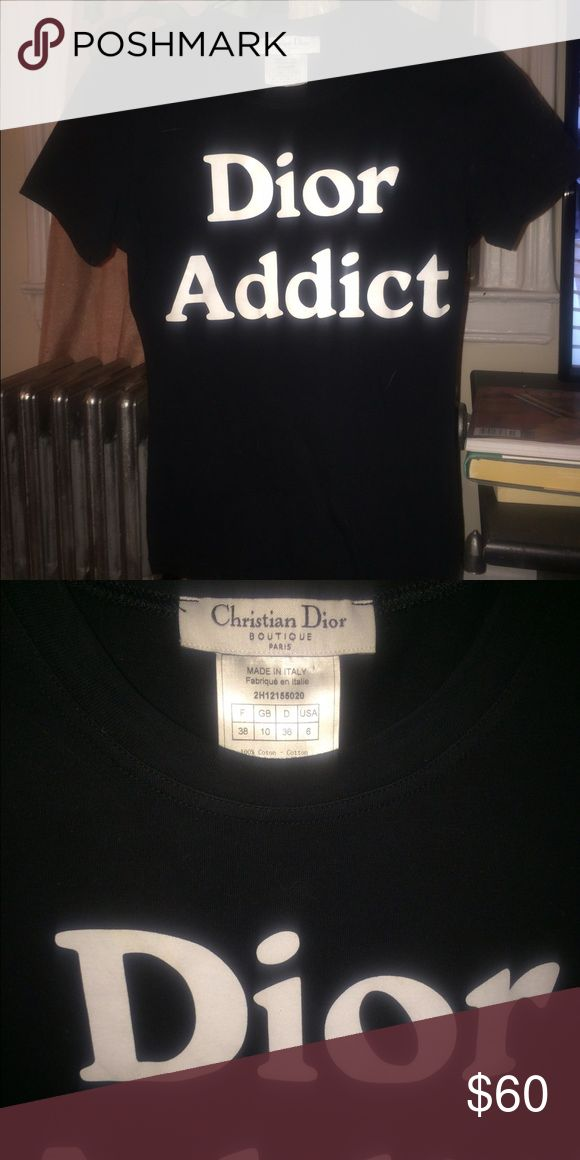 Christian Dior vintage Dior Addict tee shirt S/M French 38 US 6 Dior Tops Tees - Short Sleeve
