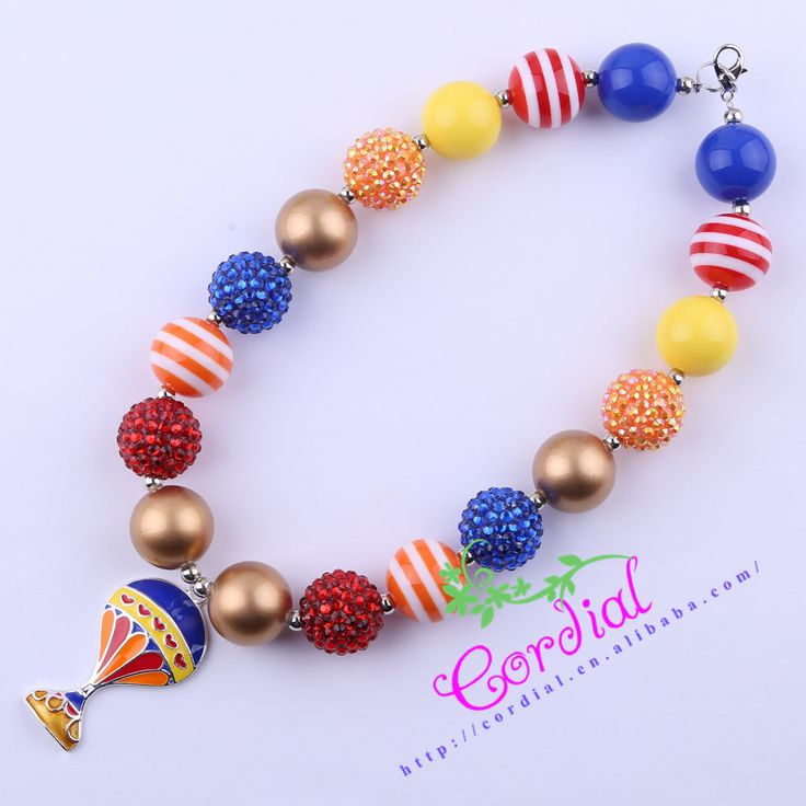 Free Shipping 2Pcs/Lot Kids Chunky Bubblegum Necklace Fire Balloon Pendant Necklace For Girl And Boy Pendant CDNL-410751