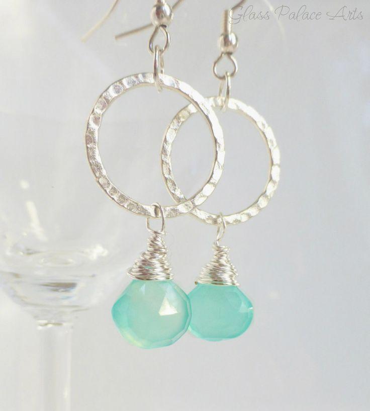 Gemstone Hammered Hoop Earrings - Aqua Chalcedony Hoop Earrings