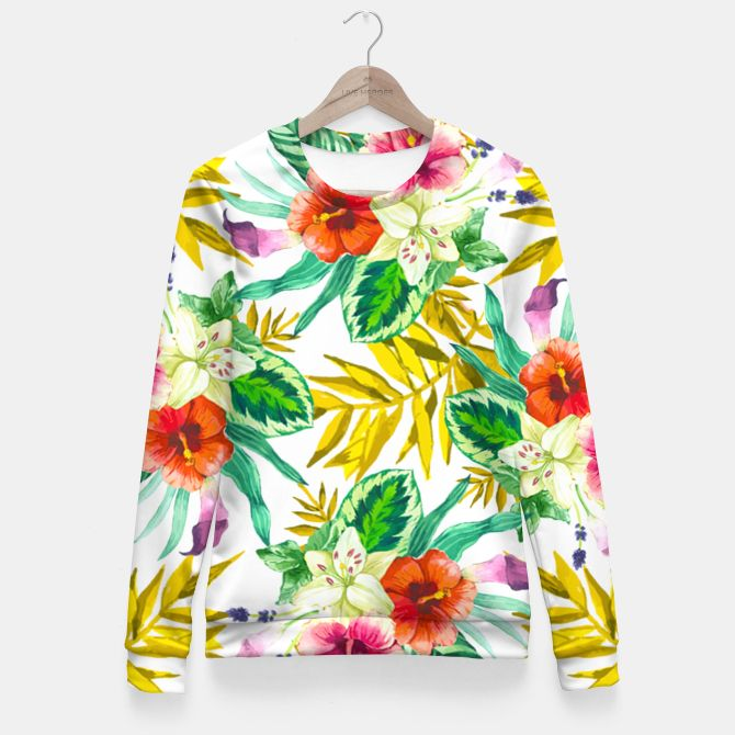 Tropical flowers - Plumeria Fitted Waist Sweater