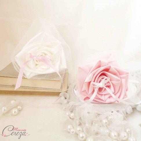 Porte-alliances Duo ivoire rose original romantique - Mademoiselle Cereza France