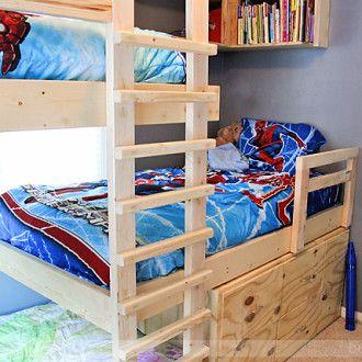 Superior Triple Bunk Beds Plans · Kleine  SlaapkamersJongenskamersKinderkamersSlaapkamerideeënStapelbed PlannenHout BeddenProjecten Design Inspirations