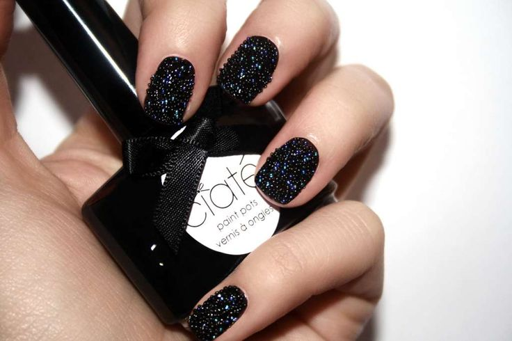 Black caviar manicure for short nails :: one1lady.com :: #nail #nails #nailart #manicure