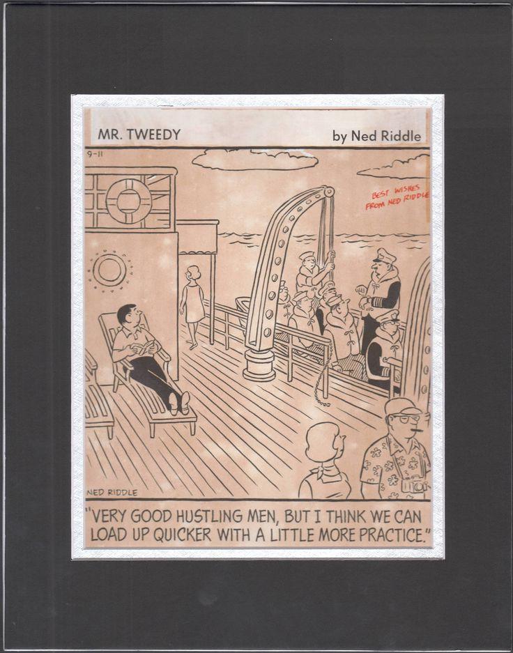 Original Gag Panel Comic Strip Art Ned Riddle Cartoon Mr Tweedy: Boat Humor 80's