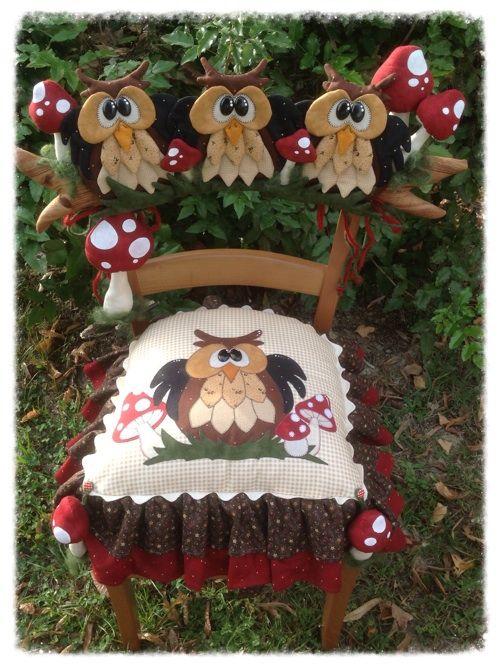 Cartamodelli gufi autunno 2013 : Cartamodello seduta e spalliera con gufi e funghi
