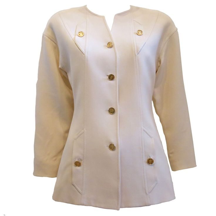 90s Chanel Boutique Cream Blazer with Gold Buttons   From a collection of rare vintage jackets at http://www.1stdibs.com/fashion/clothing/jackets/