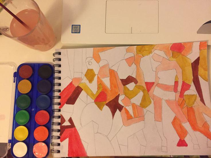 Paso 2: pasar el dibujo calcado a papel de acuarela, y darle color con acuarelas.