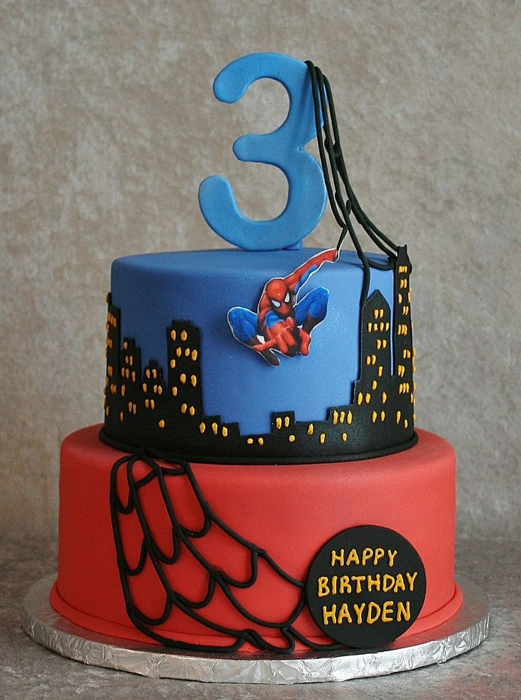 spiderman themed birthday cake spiderman was a printed edible image mounted on gumpaste webs