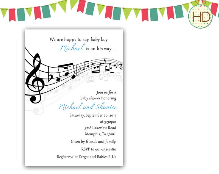 A personal favorite from my Etsy shop https://www.etsy.com/listing/245866825/music-baby-shower-music-notes-baby