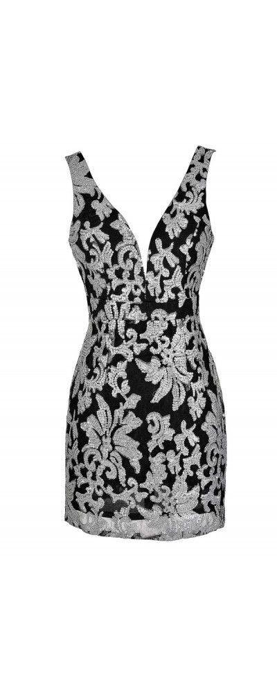 Black Silver Sequin Party Dress  www.lilyboutique.com