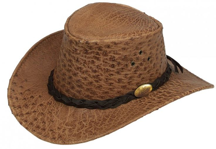 9016 Ostrich Hat Tan. Genuine Ostrich Leather Hat by Jacaru. Fully Lined, Natural Quill Marks. Plaited Leather Hatband with Brass Jacaru Badge.