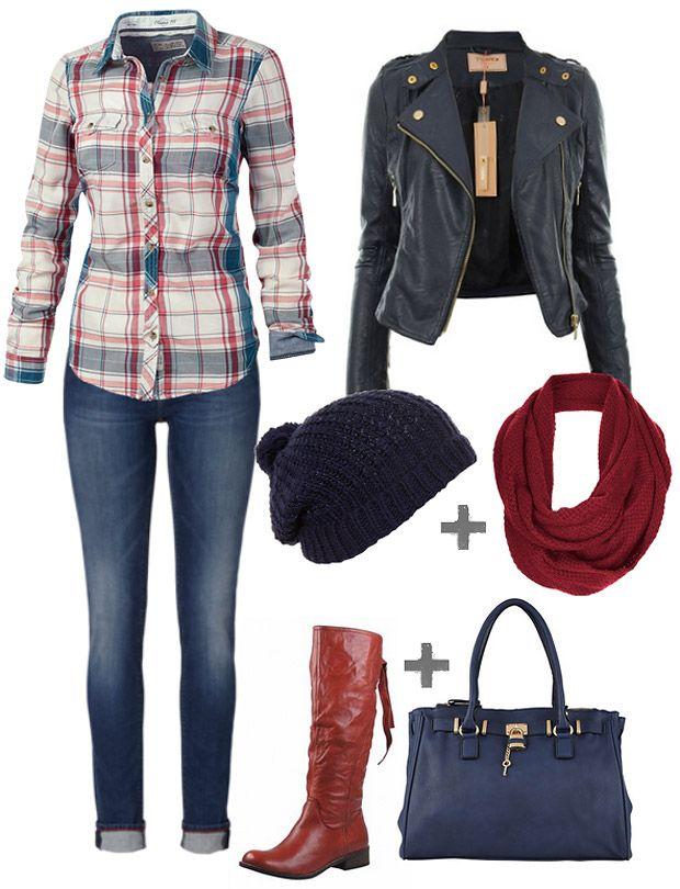 Rote Stiefel, kombiniert mit Jeans, Karobluse, Lederjacke, Loop-Schal und Beanie