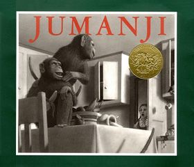 Jumanji, Written and Illustrated by Chris Van Allsburg.  This book is ABOUT imagination.  Inspires fun and imagination.  Introduces animals and a good way to teach children that wild animals DO NOT belong in the home! Beautifully illustrated.  A fun read.   Now also a motion picture.  1982 #Caldecott Medal.