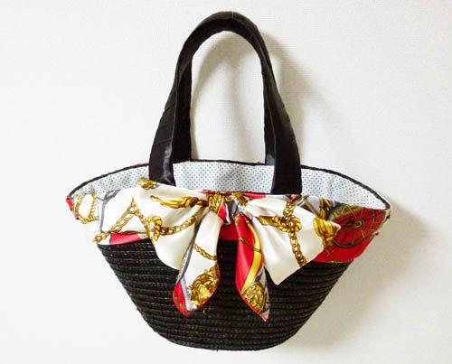 スカーフ×リボンでリメイク☆かごバックの作り方 バッグ ファッション小物 アトリエ