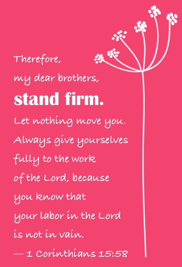 1 Corinthians 15:58 — Remember when you are weary, your labor in the Lord is not in vain.