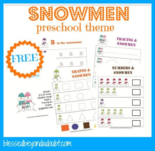 FREE Snowmen Preschool Theme Printables and Ideas! -- features a round-up of our snow ideas