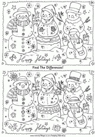 Find The Differences Puzzle - Snowmen and many more find the difference puzzles