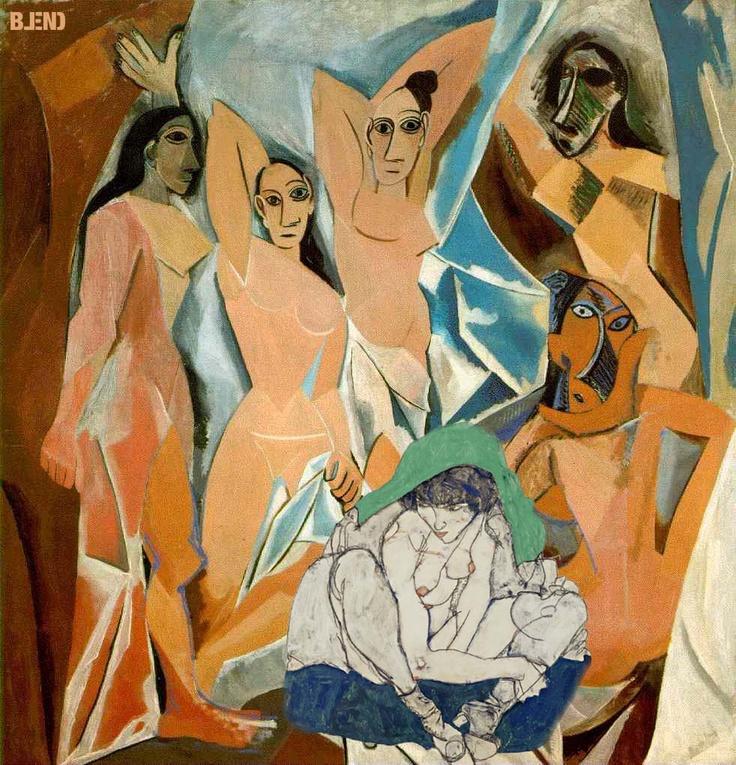 Pablo #Picasso & Egon #Schiele |   Les demoiselles d'Avignon & Crouching woman with green foulard. #art #paintings #blend