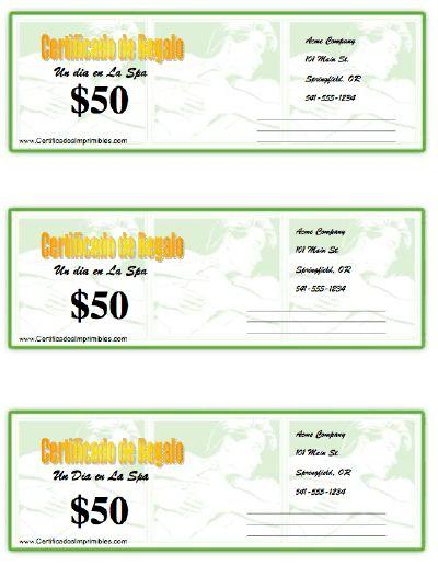 Certificado de Regalo - un dia en La Spa para imprimir los certificados, gratis para descargar e imprimir