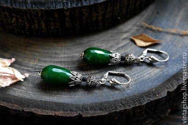 Купить Серьги серебро с натуральным камнем Нефрит небольшие серьги - зеленый, серьги с нефритом