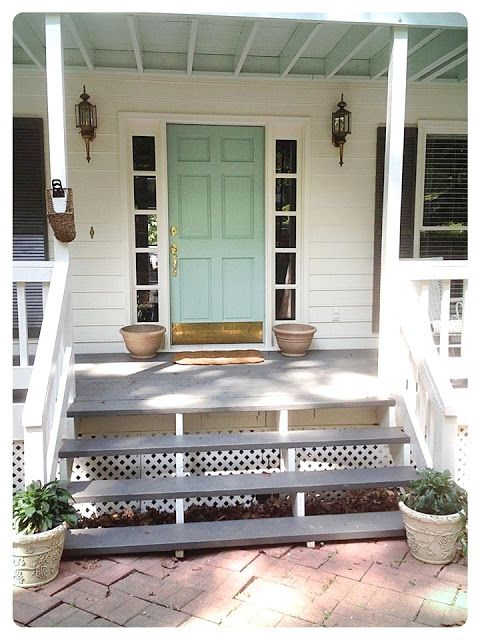 design indulgence: BEFORE AND AFTER. Exterior paint BM China White. Door BM Wythe Blue. Shutters and steps BM Kendall Charcoal.