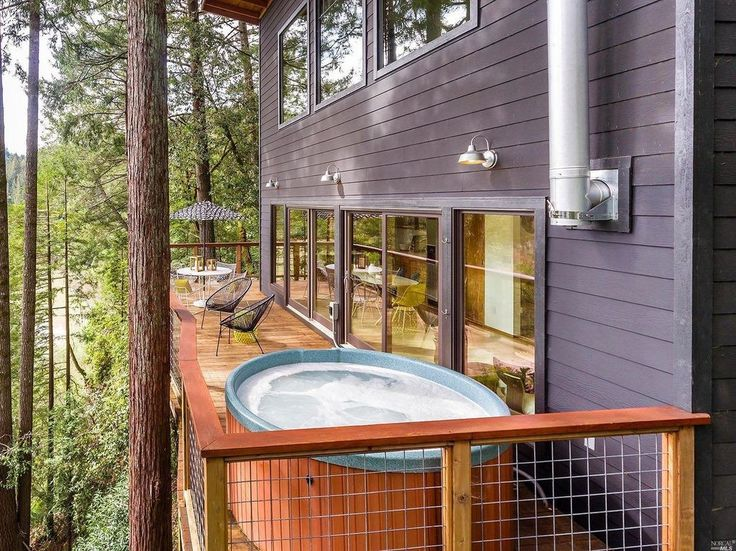 Russian River Cabin; 845 square feet cabin home in Guerneville, California overlooking The Russian River. | pinned by haw-creek.com