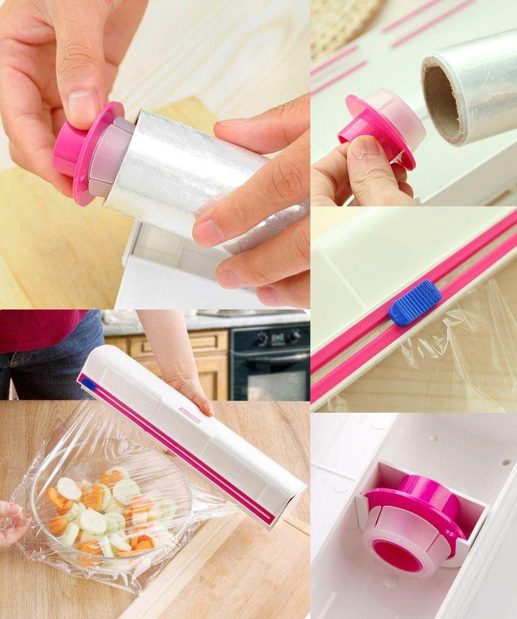 [Visit to Buy] Kitchen Plastic Film Wrap Cling Dispenser Cut Food Storage Holder Cutter #Advertisement