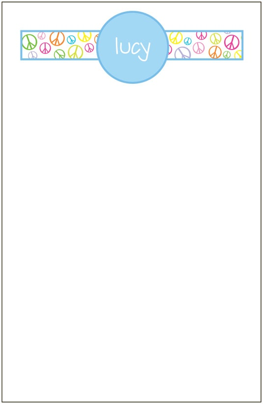 personalized peace sign notepad set