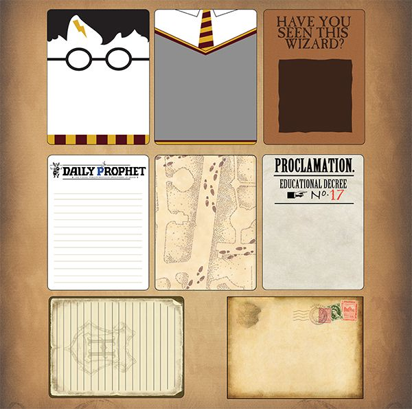 One of SYT's newest creations...journaling cards...in wizarding theme....I need these!!: Cards In Wizards, Cards Scrapbook, Disney Scrapbook, Wizards Journals, Cards 12, Journaling, Creations Journ Cards In, Harry Potter Journals Cards, 3X4 Cards