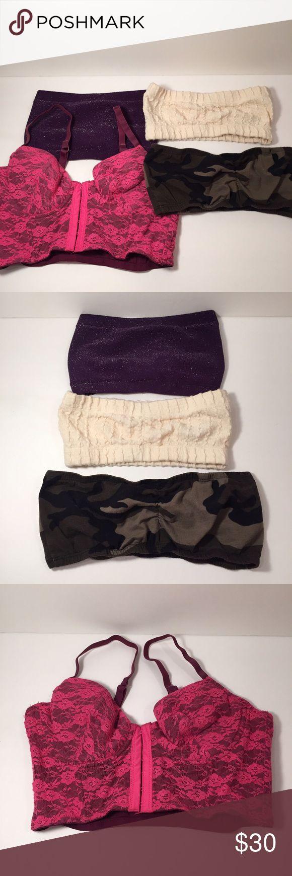 Bandeau Bundle of 4 Purple Sparkly Bandeau (one size fits all), Corset Bandeau (medium), Cream Knit Bandeau (medium), Army Print Bandeau (Medium) Tops